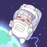 1girl astronaut bangs blunt_bangs chibi closed_eyes double_v earth_(planet) full_body gold_ship hands_up light_blush open_mouth planet silver_hair smile solo space space_helmet spacesuit takato_kurosuke umamusume v v-shaped_eyebrows