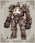 1other ambiguous_gender armor blue_eyes character_name emerson_tung english_commentary fantasy flag full_armor hammer highres holding holding_hammer looking_up mecha original photoshop_(medium) size_difference standing watermark web_address