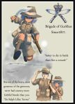 1boy 1girl absurdres ankle_boots arm_hug barbed_wire boots border brown_hair dark_skin dark_skinned_female english_text erica_(naze1940) eye_contact frown gun gurkha hand_on_headwear helmet highres jumping kneehighs knife kukri lee-enfield load_bearing_equipment looking_at_another looking_to_the_side military military_uniform original purple_hair rifle serious short_hair shorts sketch sleeves_rolled_up soldier uniform upper_body weapon world_war_ii