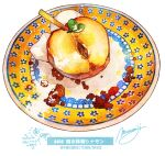 apple food food_focus food_request fruit highres momiji_mao no_humans original plate realistic signature simple_background still_life translation_request white_background