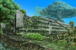aircraft bird blue_sky broken building commentary_request day giant_tree helicopter highres nature no_humans original outdoors overgrown path plant ruins scenery sky suzuke tree vines water waterfall wreckage