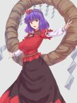 1girl bangs black_skirt breasts cowboy_shot eyebrows_behind_hair grey_background hair_ornament hands_on_hips highres kakone large_breasts leaf_hair_ornament long_skirt long_sleeves looking_at_viewer mirror open_mouth outstretched_arms purple_hair red_eyes red_shirt rope shide shimenawa shirt short_hair short_over_long_sleeves short_sleeves simple_background skirt solo spread_arms standing touhou yasaka_kanako