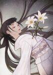1girl bangs black_hair closed_eyes flower highres japanese_clothes kimono lily_(flower) long_hair original pekomi straight_hair very_long_hair white_kimono