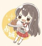 1girl akagi_(kancolle) bangs blush brown_eyes brown_hair character_name chibi curry curry_rice flight_deck food hakama hakama_skirt highres holding holding_plate japanese_clothes kantai_collection long_hair muneate nada_namie open_mouth plate red_hakama rice saliva signature simple_background solo sparkle tasuki thigh-highs two-tone_background white_legwear wide_sleeves