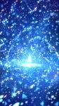1girl ahoge blue_theme capelet dress fantasy glowing highres light light_particles magic original sakimori_(hououbds) short_hair solo