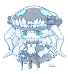 1girl abyssal_ship aqua_eyes bangs black_cape black_gloves blush breasts cane cape chibi colored_skin gloves headgear highres holding holding_cane kantai_collection nada_namie open_mouth pale_skin short_hair_with_long_locks signature simple_background small_breasts solo teeth tentacles white_background white_hair white_skin wo-class_aircraft_carrier