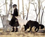 1boy absurdres black_coat black_fur coat forest highres lantern looking_to_the_side male_focus nature original profile rt0no snow tree white_fur winter wolf