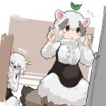 !? 2girls ? ?? absurdres anteater_ears anteater_tail black_corset blush bow bowtie brown_eyes brown_hair center_frills commentary_request corset eyebrows_visible_through_hair frills fur_collar fur_sleeves highres iwa_(iwafish) kemono_friends leaf leaf_on_head long_sleeves multicolored_hair multiple_girls shirt short_hair southern_tamandua_(kemono_friends) two-tone_hair white_fur white_hair white_neckwear white_shirt