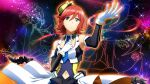 1girl armpits blue_eyes clothing_cutout constellation detached_collar game_cg gloves hand_on_own_chest hat kaname_buccaneer macross macross_delta navel_cutout official_art redhead short_hair solo star_(sky) uta_macross_sumaho_deculture
