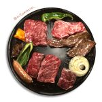artist_name food food_focus highres meat mitomaton no_humans onion original pepper plate realistic sausage simple_background still_life vegetable white_background yakiniku