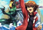 2boys arm_up black_shirt brown_eyes brown_hair clenched_hand deadspike_nine duel_academy_uniform_(yu-gi-oh!_gx) duel_monster elemental_hero_flame_wingman feathered_wings fire green_eyes highres jacket long_sleeves male_focus multicolored_hair multiple_boys open_clothes open_jacket open_mouth red_eyes red_jacket shirt single_wing two-tone_hair water waves wings yu-gi-oh! yu-gi-oh!_gx yuuki_juudai