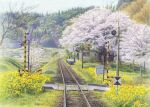 akashi_kaikyou bare_tree cherry_blossoms commentary flower grass greenhouse hill no_humans original railroad_crossing railroad_tracks rural scenery sky spring_(season) traditional_media train_station train_station_platform tree watercolor_(medium)