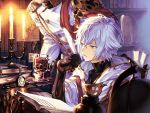 2boys blue_eyes book book_stack bookshelf brown_gloves candelabra candle chair collarbone covered_collarbone cup drawing elbow_gloves fire flame glass glint globe gloves granblue_fantasy grey_hair hair_between_eyes highres holding holding_pen holding_plate holding_quill hood hood_down inkwell kmktzzg lucilius_(granblue_fantasy) male_focus multiple_boys open_book paper parted_lips pen plate pocket_watch quill scroll sitting statue steam tea turtleneck vial watch