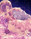 1girl blouse blue_blouse eyeball fetal_position flower flower_bed frilled_shirt_collar frills heart heart_of_string highres komeiji_satori long_skirt long_sleeves nikorashi-ka pink_hair pink_skirt ribbon-trimmed_collar ribbon_trim short_hair skirt socks solo tears third_eye touhou violet_eyes wide_sleeves