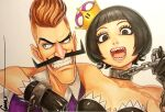 1boy 1girl artist_signature black_hair bob_cut brown_hair chain_chomp chain_necklace chompette colored gloves looking_at_viewer mario_(series) mustache nintendo omar_dogan open_mouth simple_background super_crown traditional_media waluigi white_background