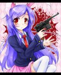 1girl animal_ears argyle argyle_background bangs black_jacket blazer blush closed_mouth collared_shirt commentary_request cookie_(touhou) feet_out_of_frame gun handgun hisui_(cookie) holding holding_gun holding_weapon jacket letterboxed long_hair long_sleeves looking_to_the_side luger_p08 necktie neko_mata pink_background pink_skirt pistol pleated_skirt purple_hair rabbit_ears red_eyes red_neckwear reisen_udongein_inaba shirt skirt solo swept_bangs thigh-highs touhou weapon white_legwear white_shirt