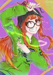 action_figure arms_up beanie blush glasses green_hoodie hat holding holding_toy hood hoodie long_hair onihe8death orange_hair persona persona_5 persona_5_the_royal sakura_futaba simple_background smile teeth toy ufo