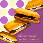 candy cookie english_text food food_focus highres mitomaton no_humans original pastry raisin_(fruit) realistic sandwich_cookie simple_background still_life sweets white_background