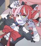 1girl ahoge black_bow bow colored_skin double_bun dress grey_hair hair_bow heterochromia highres hololive hololive_indonesia idol kureiji_ollie multicolored_hair open_mouth patchwork_skin pink_hair red_bow red_eyes redhead solo stitched_face stitches torn_clothes virtual_youtuber yellow_eyes zombie
