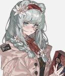 1girl animal_ears aogisa arknights bangs bear_ears beige_jacket blue_eyes blush book braid buttons closed_mouth collar collared_shirt eyebrows_visible_through_hair fingernails flower hair_flower hair_ornament hair_over_shoulder highres holding holding_book istina_(arknights) jacket long_hair long_sleeves looking_at_viewer monocle neckerchief open_clothes open_jacket red_neckwear shirt silver_hair simple_background solo twin_braids upper_body white_background white_flower