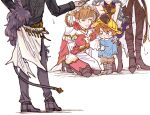 2boys 3girls animal_ears belial_(granblue_fantasy) brown_hair child crying erune feather_boa ferry_(granblue_fantasy) gran_(granblue_fantasy) granblue_fantasy juliet_(granblue_fantasy) kindergarten_uniform long_sleeves looking_down multiple_boys multiple_girls out_of_frame sandalphon_(granblue_fantasy) simple_background tandem tears white_background