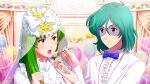 1boy 1girl aqua_hair blush bow bowtie bridal_veil bride cake choujikuu_yousai_macross couple dress feeding food formal game_cg glasses green_hair groom hetero holding holding_spoon jewelry lipstick long_hair macross makeup maximilian_jenius meltrandi millia_jenius official_art open_mouth ring smile spoon tuxedo uta_macross_sumaho_deculture veil wedding_band wedding_dress