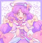 1girl :d aqua_eyes ayuse_s blue_bow border bow brown_eyes cure_coral dress fingerless_gloves gloves hair_bow hat hat_bow heart heart_facial_mark heart_in_eye highres holding holding_wand long_hair looking_at_viewer magical_girl multi-tied_hair multiple_hair_bows open_mouth outside_border pink_bow polka_dot polka_dot_background pouch precure purple_border purple_capelet purple_dress purple_hair purple_theme sailor_hat smile solo striped striped_bow suzumura_sango symbol_in_eye tropical-rouge!_precure twintails upper_body wand white_gloves white_headwear yellow_bow