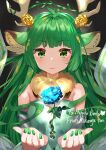 1girl absurdres animal_ear_fluff animal_ears antlers artist_name bangs blue_flower character_name commission detached_sleeves dress english_commentary eyebrows_visible_through_hair floating flower green_dress green_eyes green_hair green_nails haruka_karibu highres indie_virtual_youtuber kikurage_tom. moose_ears moose_girl parted_lips rose second-party_source skeb_commission solo virtual_youtuber yellow_flower yellow_rose
