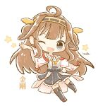 1girl ahoge bangs blush brown_hair character_name chibi detached_sleeves double_bun frilled_skirt frills grey_eyes hand_on_hip headgear highres japanese_clothes kantai_collection kongou_(kancolle) long_hair long_sleeves nada_namie one_eye_closed open_mouth ribbon-trimmed_sleeves ribbon_trim signature simple_background skirt solo star_(symbol) thigh-highs white_background wide_sleeves