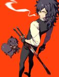 1boy animal bandages black_hair cigarette dog facial_hair fate/grand_order fate_(series) fingerless_gloves gloves gun handgun highres holding holding_gun holding_sheath holding_weapon katana kmktzzg looking_back medium_hair okada_izou_(fate) orange_background scabbard sheath sheathed simple_background sleeves_rolled_up smile smoke smoking standing stubble sword tongue tongue_out weapon yellow_eyes