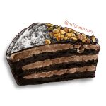 cake cake_slice chocolate dessert food food_focus highres mitomaton no_humans nut_(food) original pastry realistic simple_background still_life sweets white_background