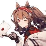 absurdres angelina_(arknights) animal_ears arknights blush brown_hair fox_ears fox_girl gloves headgear heart highres jacket letter long_hair looking_at_viewer one_eye_closed red_eyes tochigi_1990 twintails