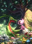 ^_^ alternate_color antennae blue_flower blurry blurry_foreground celebi closed_eyes collarbone colored_sclera day fairy_wings field flower flower_field from_side full_body fushigi_no_dungeon gen_2_pokemon gen_3_pokemon grass green_eyes grovyle hand_up happy highres jpeg_artifacts karamimame knees_together_feet_apart legendary_pokemon light_rays looking_at_another moss mythical_pokemon nature on_rock open_mouth orange_flower outdoors pink_flower pokemon pokemon_(creature) pokemon_(game) pokemon_mystery_dungeon red_flower rock shiny_pokemon sitting smile tree white_flower wings yellow_flower yellow_sclera
