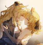 2girls alternate_costume animal_ears artist_name aunt_and_niece black_bow black_gloves black_ribbon blemishine_(arknights) blonde_hair blue_eyes blush bow bowtie chinese_commentary commentary_request elbow_gloves eye_contact face-to-face gloves hair_bow hair_ribbon hand_on_another's_back highres horse_ears incest long_hair long_sleeves looking_at_another moyu_marginal multiple_girls open_mouth partially_fingerless_gloves ribbon sweat tongue tongue_out upper_body wavy_hair whislash_(arknights) yellow_eyes yuri