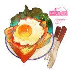 bread egg food food_focus fork highres momiji_mao no_humans original plate signature simple_background spoon still_life sunny_side_up_egg translation_request utensil vegetable white_background