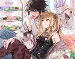 1boy 1girl amane_misa bags_under_eyes bangs black_eyes black_hair black_shirt blonde_hair candy choker cross cross_earrings cup death_note denim earrings empew eyebrows_visible_through_hair feeding fishnet_legwear fishnets food hair_between_eyes hand_on_another's_leg holding holding_candy holding_cup holding_food holding_lollipop indoors jeans jewelry l_(death_note) lollipop long_hair looking_at_another off_shoulder open_mouth pants shirt sitting t-shirt thigh-highs twintails white_shirt yellow_eyes