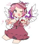 1girl bird_wings blush brown_dress dress eighth_note feathered_wings feet_out_of_frame fingernails flying frills grey_eyes hat head_wings ini_(inunabe00) long_sleeves looking_at_viewer mob_cap music musical_note mystia_lorelei one_eye_closed open_mouth pink_hair red_nails short_hair simple_background singing solo touhou white_background winged_hat wings
