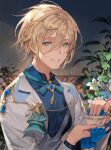 1boy blonde_hair blue_neckwear blue_shirt bow bowtie chyoel cup ensemble_stars! flower green_eyes hair_between_eyes highres holding jacket kerchief long_sleeves looking_at_viewer male_focus open_clothes open_jacket shirt short_hair smile solo teacup tears tenshouin_eichi upper_body white_flower white_jacket