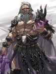 1boy armor bare_pecs beard chain facial_hair fire_emblem fire_emblem:_three_houses long_hair looking_at_viewer muscular mustache mutomorokoshi nemesis_(fire_emblem) red_eyes scar scar_on_chest scar_on_face shirtless shoulder_armor simple_background upper_body white_hair