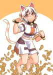 1girl animal_ears ankleband barefoot bell brown_eyes cat_ears cat_tail fuuzasa gold highres koban_(gold) looking_at_viewer maneki-neko midriff multicolored multicolored_clothes multicolored_shirt multicolored_skirt neck_bell patches paw_pose short_hair short_sleeves simple_background skirt smile tail touhou unnamed_cat_girl_(touhou)