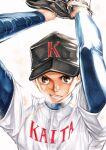 1boy arms_up baseball baseball_cap baseball_mitt black_headwear brown_eyes brown_hair character_request copyright_request hat highres long_sleeves looking_at_viewer male_focus marker_(medium) shirt simple_background sportswear sweat takechi_(22600050) traditional_media white_shirt