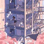 1girl bubble building building_block door fish highres ichigoame original scenery school_uniform serafuku stairs stingray straight_hair surreal tree underwater water window