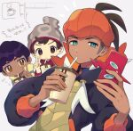 3boys bangs beanie black_hoodie brown_eyes brown_hair cable_knit commentary_request cup dark_skin dark_skinned_male disposable_cup drinking drinking_straw_in_mouth earrings fur-trimmed_jacket fur_trim gen_4_pokemon grey_headwear hands_up hat highres holding holding_cup holding_phone hood hoodie hop_(pokemon) jacket jewelry looking_at_viewer male_focus multiple_boys orange_headwear partially_colored phone pokemon pokemon_(game) pokemon_swsh purple_hair raihan_(pokemon) red_shirt rotom rotom_phone shirt short_hair swept_bangs translation_request undercut v victor_(pokemon) yamunashi