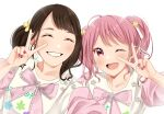 2girls :d ;d bang_dream! bow brown_hair elu_pom hair_ornament hand_up highres looking_at_viewer maeshima_ami maruyama_aya multiple_girls nail_polish one_eye_closed open_mouth pink_bow pink_eyes pink_hair seiyuu selfie shirt short_twintails smile twintails upper_body v white_shirt