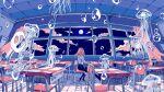 1girl bubble chair classroom clouds curtains desk full_moon highres ichigoame jellyfish moon night night_sky original scenery school_chair school_desk school_uniform sky table window