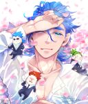 2bro. 3boys anija_(2bro.) artist_name blue_hair chibi collarbone everyone formal green_hair hair_between_eyes hand_up headphones highres male_focus multiple_boys necktie otoja otsuichi_(2bro.) petals redhead shirt short_hair sitting spiky_hair suit sunglasses thick_eyebrows white_shirt yoru_(butterflykixx)