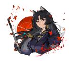 1girl animal_ears arknights black_hair blood blood_on_face blood_splatter braid character_name cropped_torso dog_ears dog_girl etiv hair_ribbon highres holding holding_sword holding_weapon japanese_clothes katana leaf licking_lips long_hair looking_at_viewer maple_leaf red_eyes ribbon saga_(arknights) single_braid solo sword tongue tongue_out traditional_clothes upper_body weapon white_background