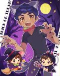 1girl 2boys :d alternate_costume animal_ears bangs bat black_nails blush broom broom_riding brown_eyes brown_hair chibi claw_pose collar collarbone commentary_request eyebrows_visible_through_hair eyelashes fake_horns fang fang_out gloria_(pokemon) halloween hat highres holding holding_wand hood hood_up hop_(pokemon) horns moon multiple_boys nail_polish open_mouth pants pitchfork pokemon pokemon_(game) pokemon_swsh shirt smile sparkle tail teeth tongue trick_or_treat victor_(pokemon) wand wings witch_hat yamunashi