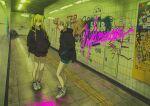 2girls black_jacket blonde_hair deg_(deguana) graffiti hair_between_eyes hands_in_pockets highres hood hood_down hooded_jacket idolmaster idolmaster_cinderella_girls jacket kurosaki_chitose long_hair multiple_girls red_eyes reflection shiomi_shuuko shoes short_hair standing white_footwear wide_shot