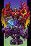 3boys arm_cannon beast_machines beast_wars blue_eyes clenched_teeth ct990413 evolution looking_at_viewer looking_to_the_side mecha megatron megatron_(beast_wars) multiple_boys no_humans open_hand predacon red_eyes science_fiction teeth transformers v-fin weapon